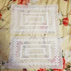 Vintage Crocheted Placemats Pair w/ Tea Towel